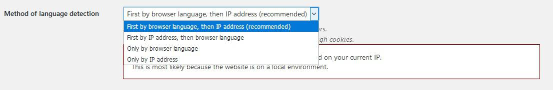 Choose how the site will set the automatic language for visitors