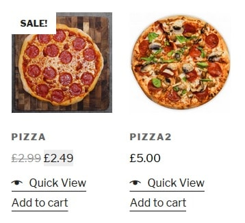 An example of food items on a restaurant web shop
