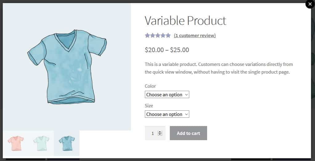 A pop up view of a variable product