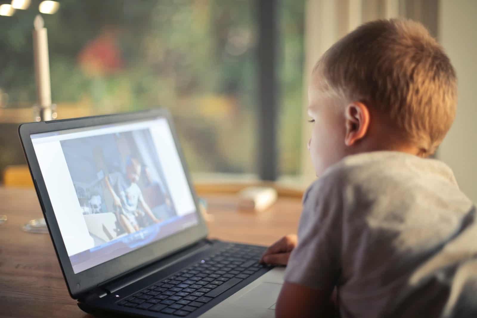 Boy watching a video