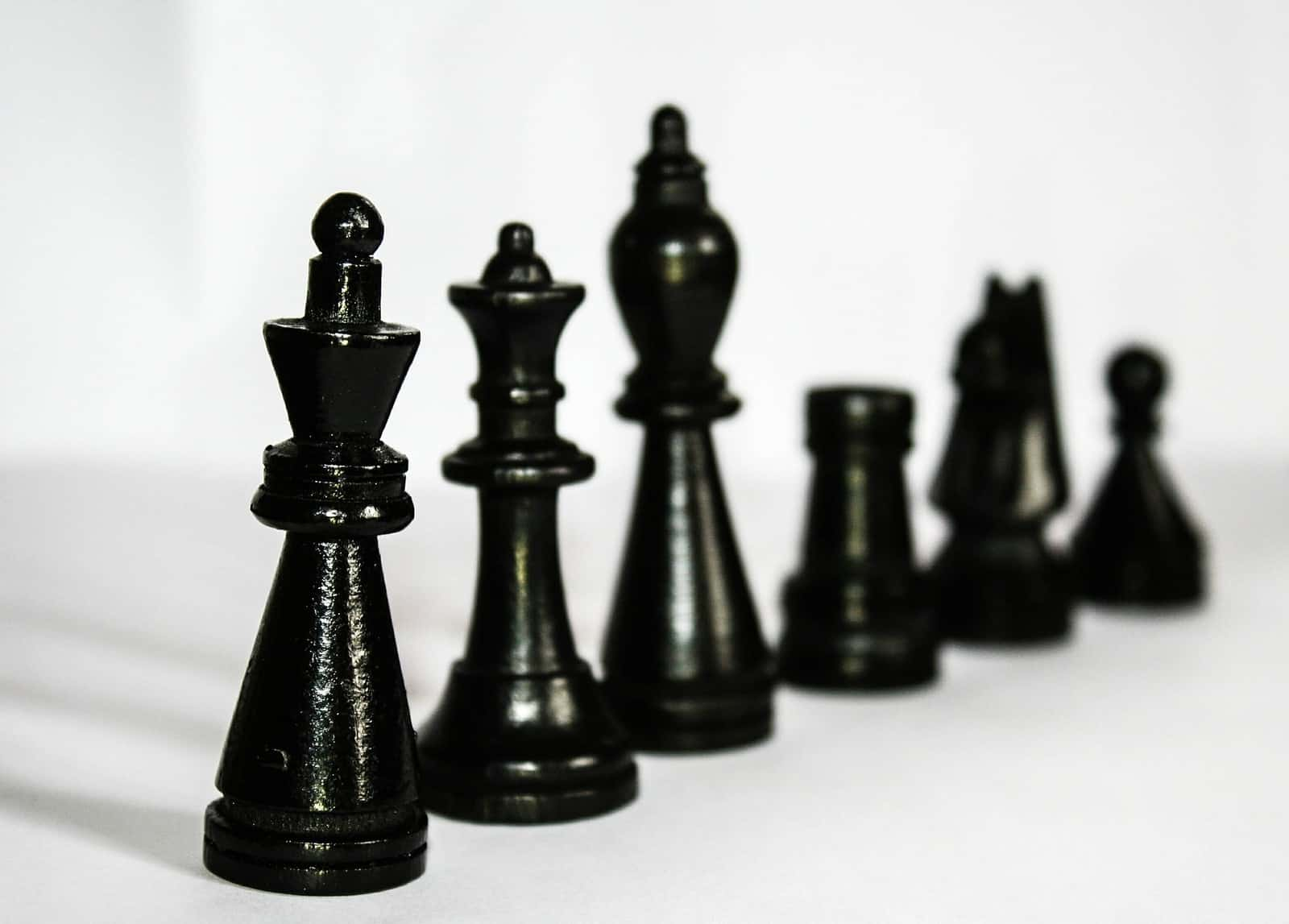 Chess pieces lined up