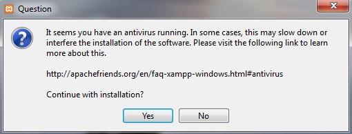 XAMPP installation pop-up