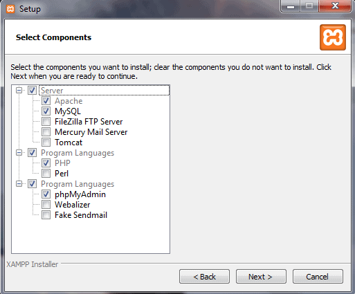 Select components popup