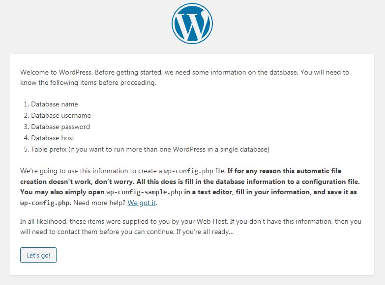 WordPress welcome tab