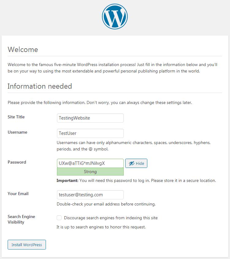 WP basic info tab