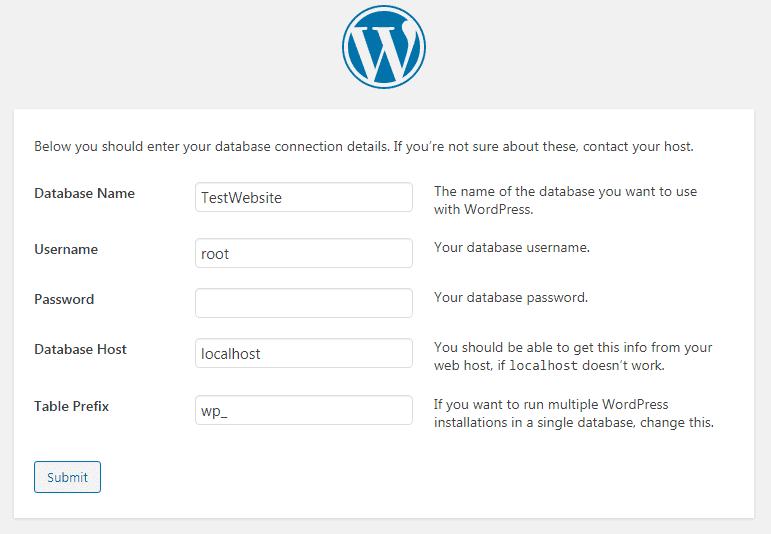 WP database configuration
