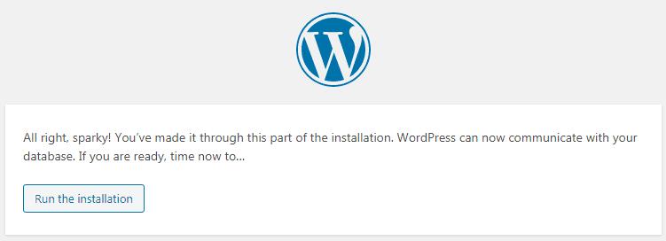WP run installation tab