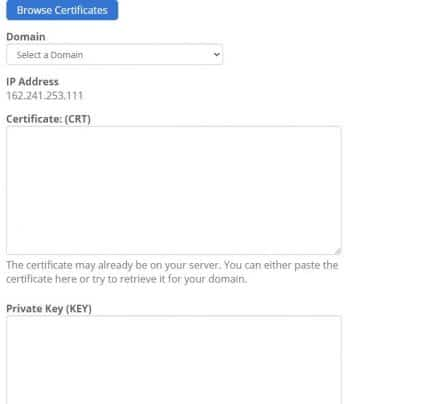 Manage SSL option