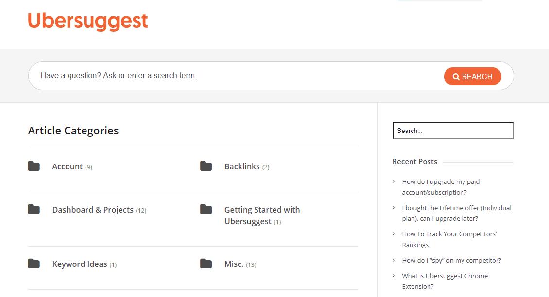 Ubersuggest database
