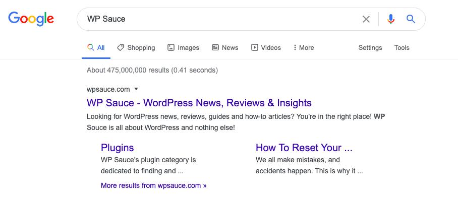 WP Sauce Google result