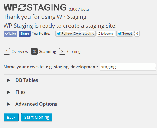 WP STAGING cloning option