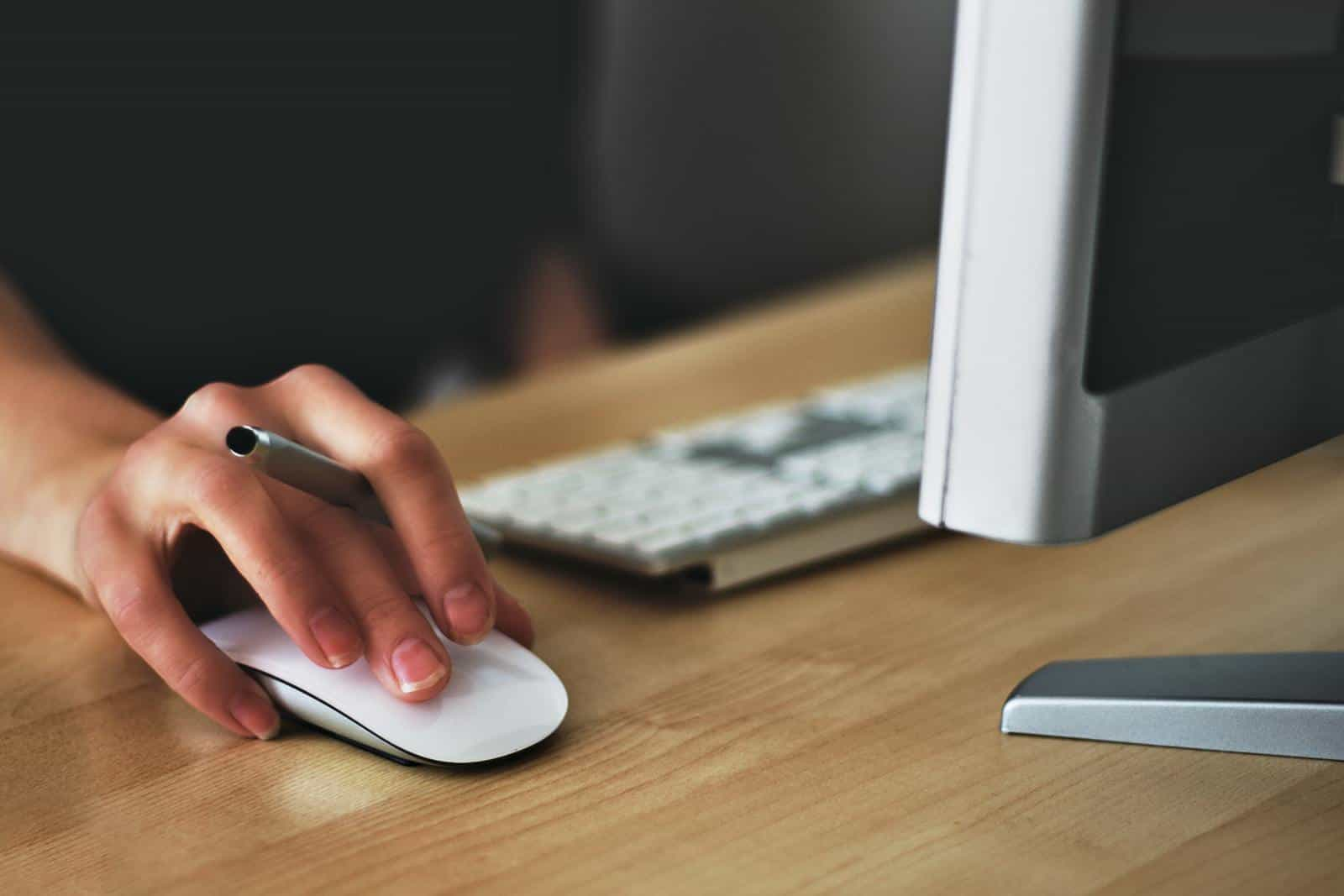 Person using PC mouse