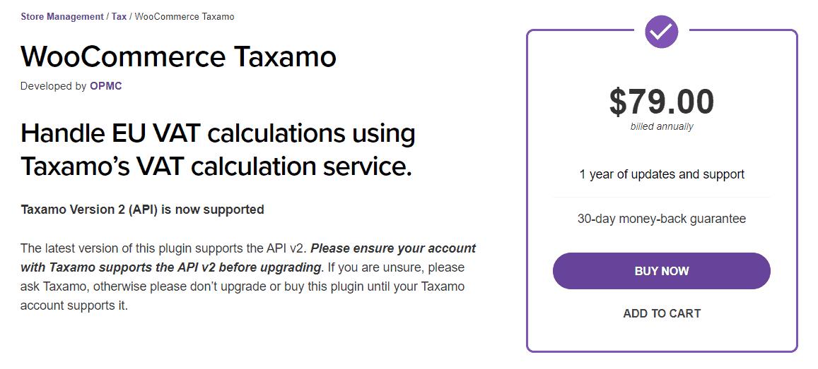 WooCommerce Taxamo plugin