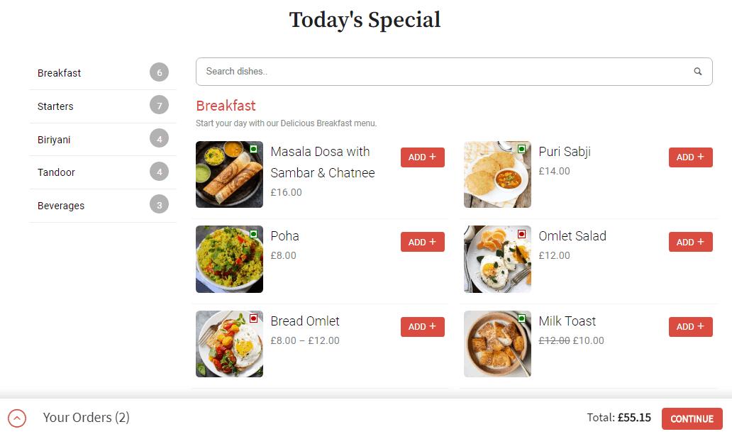 Food Store plugin food listings