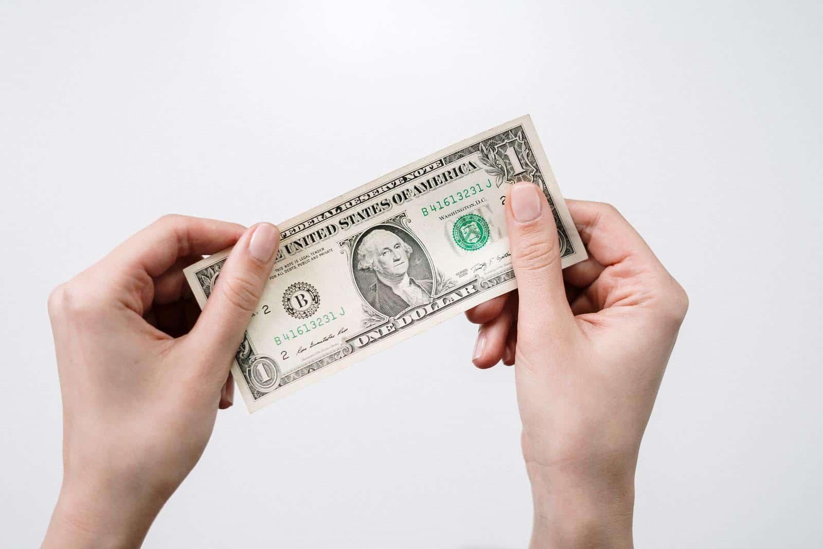 Person holding 1 dollar bill