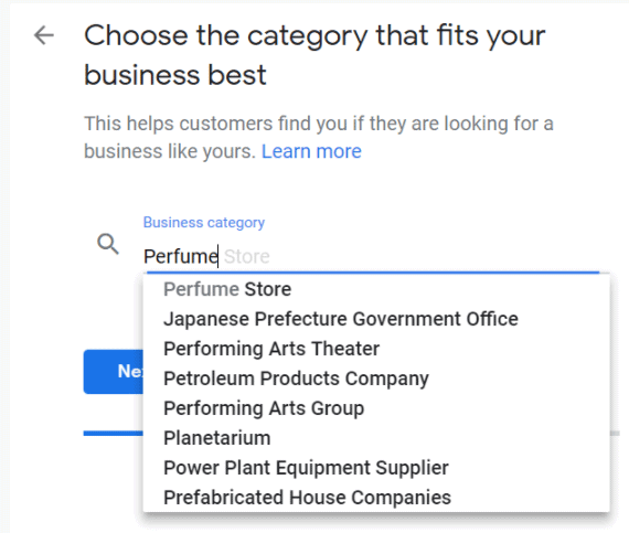 Google My Business business category form