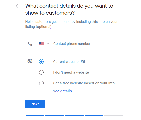 Google My Business contact details form