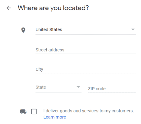 Google My Business where are you located form