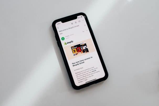 Shopify app on cellphone